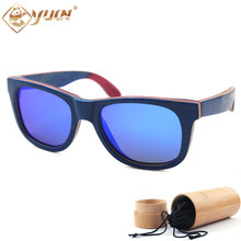Blue Skateboard Wood Sunglasses Handmade Polarized Wooden Glasses Brand Desiner Men Women Fashion Sun Glasses Eyewear  W108