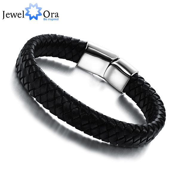 Genuine Leather Simple Men Bracelet Wrap Wristband For Men Classic Bracelet  Men Bangle Jewelry Gift For Him(JewelOra BA101164) bracelet