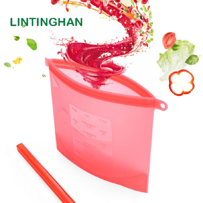8 Pack Optional Category Self-style Push-pull Food Silicone Fresh-keeping Bags Multi-color Large 1500ml Small 1000ml