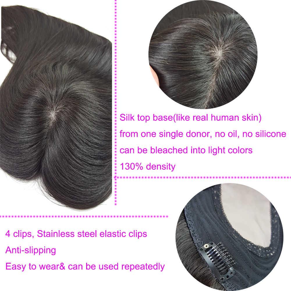 Парик из натуральных волос для женщин топперы для волос 5,5*5,5 Шелковый Топ База 130% виргинские волосы без силиконовых зажимов для волос
