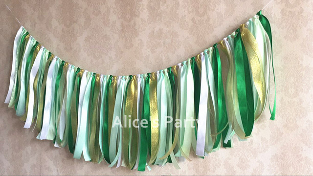 New Green Gold Ribbon Banner Bunting First Birthday Flag Jungle Theme Zoo  Party Decorations Baby Shower