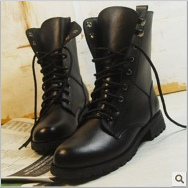 Autumn Winter Lovers Mid-Calf Boots Casual Man Motorcycle Boots Vintage Round Toe Lace-Up Boots Men's Soft Leather Shoes Man motorcycle man