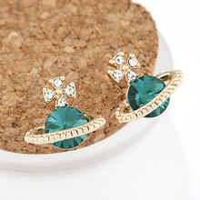 Женские серьги гвоздики с кристаллами saturn star модные ювелирные