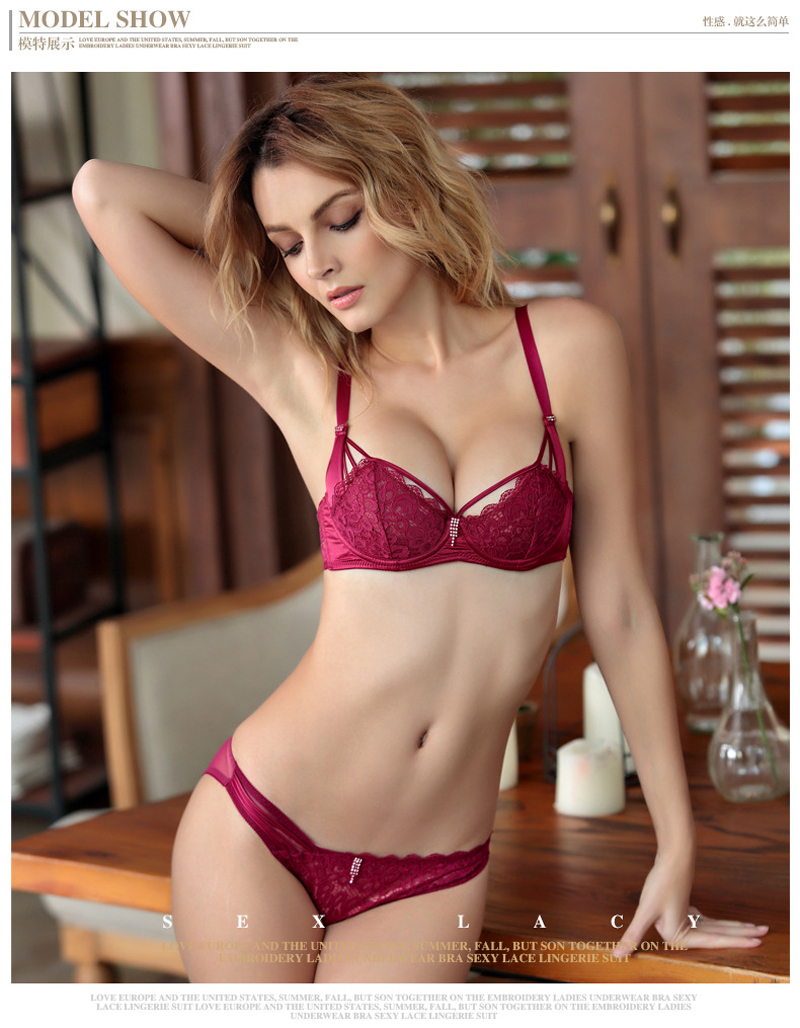 17 Best Seller Push Up Sexy Lace 1/2 Cup Bra Set Underwire Unlined Back Closure Two Hook-and-eye Free Shipping 1