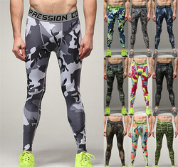 Camouflage tight pants men's sports compressed trousers basketball bottom training pants running fitness pants