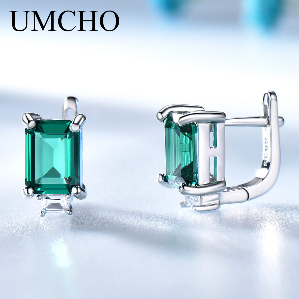 UMCHO Solid Genuine 925 Sterling Silver Earrings Gemstone Created Emerald Clip Earrings For Female Wedding Gifts Fine JewelryUMCHO Solid Genuine 925 Sterling Silver Earrings Gemstone Created Emerald Clip Earrings For Female Wedding Gifts Fine Jewelry