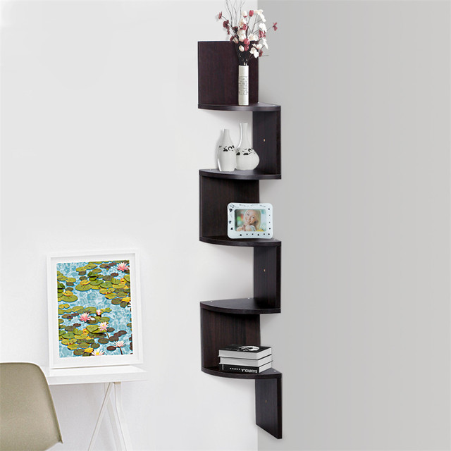 Finether 5 Tier Zig Zag Floating Wall Corner Shelf Unit Wall Mounted Shelving Bookcase Storage Display Organizer Organizador