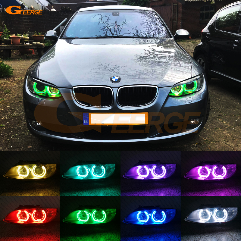 For BMW 3 Series E90 E92 E93 M3 Coupe cabriolet 2007-2013 Excellent DTM Style Ultra bright Multi-Color RGB LED Angel Eye kit for bmw 3 series f30 f31 f34 2012 2013 2014 2015 2016 halogen headlight excellent dtm style multi color rgb led angel eye kit