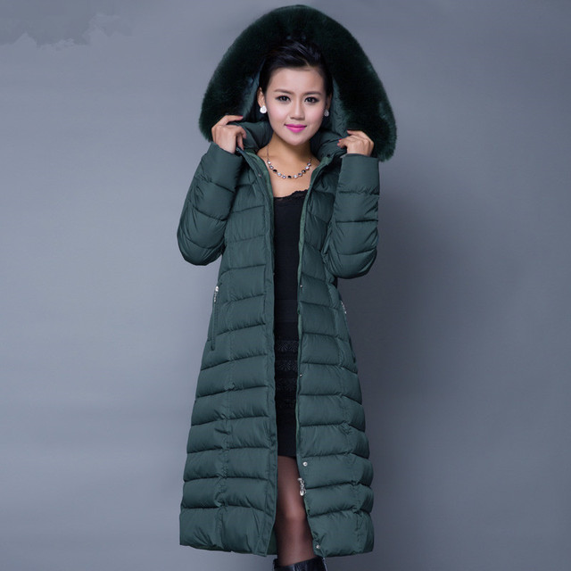 2b670585bbe92 2016 WINTER NEW Hood Plus Size Winter COAT Women Large Faux Fur Collar Down  Female Parka