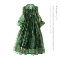 Silk organza Chinese style party dress 2018 new runway women summer dress high quality office lady loose a line 2 piece dress