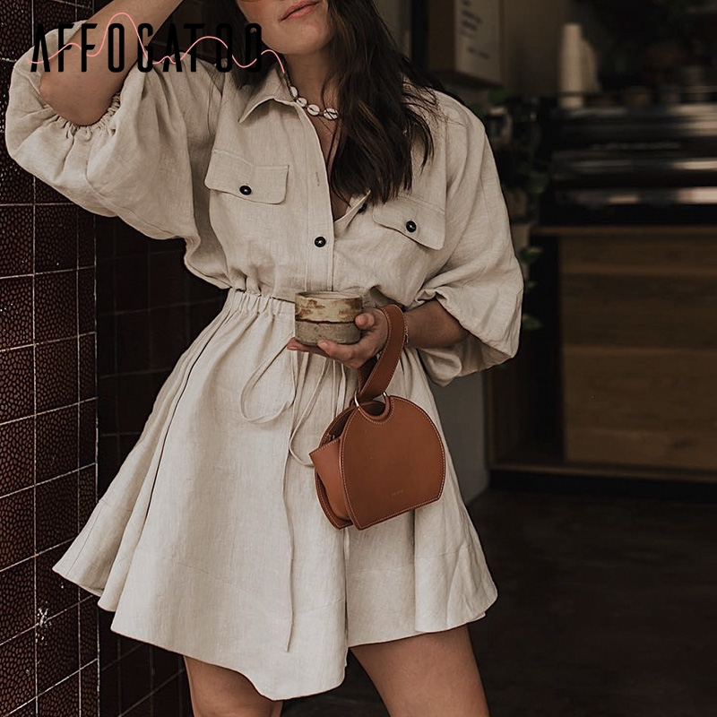 Affogatoo Vintage elagant women mini shirt dress Casual lantern sleeve short dress Turndown collar lace up linen female dresses(China)