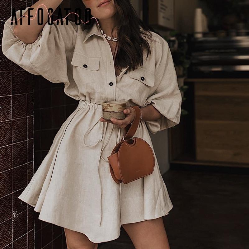 Affogatoo Vintage elagant women mini shirt dress Casual lantern sleeve short dress Turndown collar lace up linen female dresses Платье