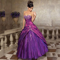 Custom Made Tafetá Roxo Barato Vestidos Quinceanera vestido de Baile Sweethert Plissada Vestidos De 15 Años Sweet 16 Vestidos 15 Anos