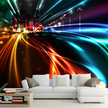 Customized 3D wallpaper colorful city light seamless large mural KTV background wall glare dazzling dynamic modeling decor paper
