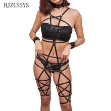 Women Pentagram Body Harness Elastic Gothic Punk Adjustable Waist Garter Belt Bra Sexy Harajuku Suspender