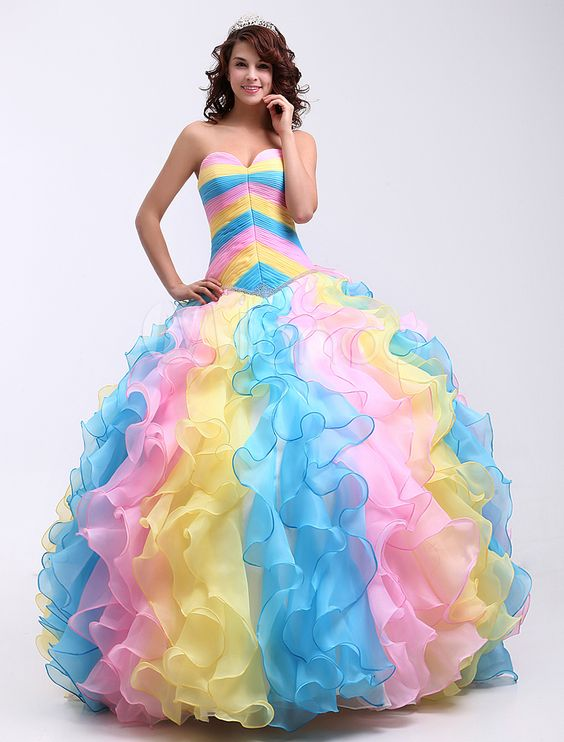 Popular Rainbow Prom Gowns-Buy Cheap Rainbow Prom Gowns lots from ...