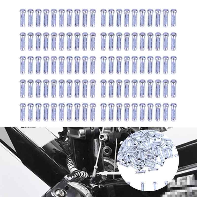 100 sztuk aluminium rower hamulec Shifter kabel wewnętrzny porady drut zaślepka porady Crimps Sliver wysokiej jakości