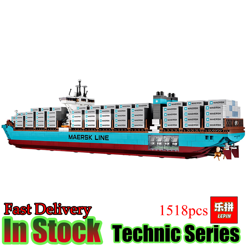 Lepin 22002 Technic 1518Pcs The Maersk Cargo Container Ship Compatible10241 Set Model Building Blocks Bricks Toys Gift lepin 22001 pirate ship imperial warships model building block briks toys gift 1717pcs compatible legoed 10210