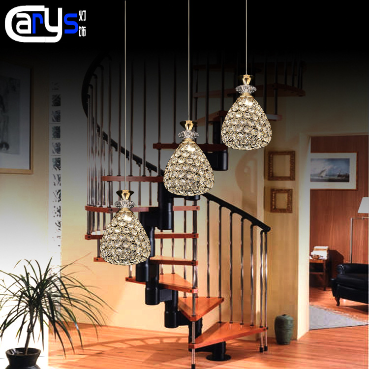 in the first three golden head droplight of contemporary and contracted the bar LED crystal droplight guzhen lighting