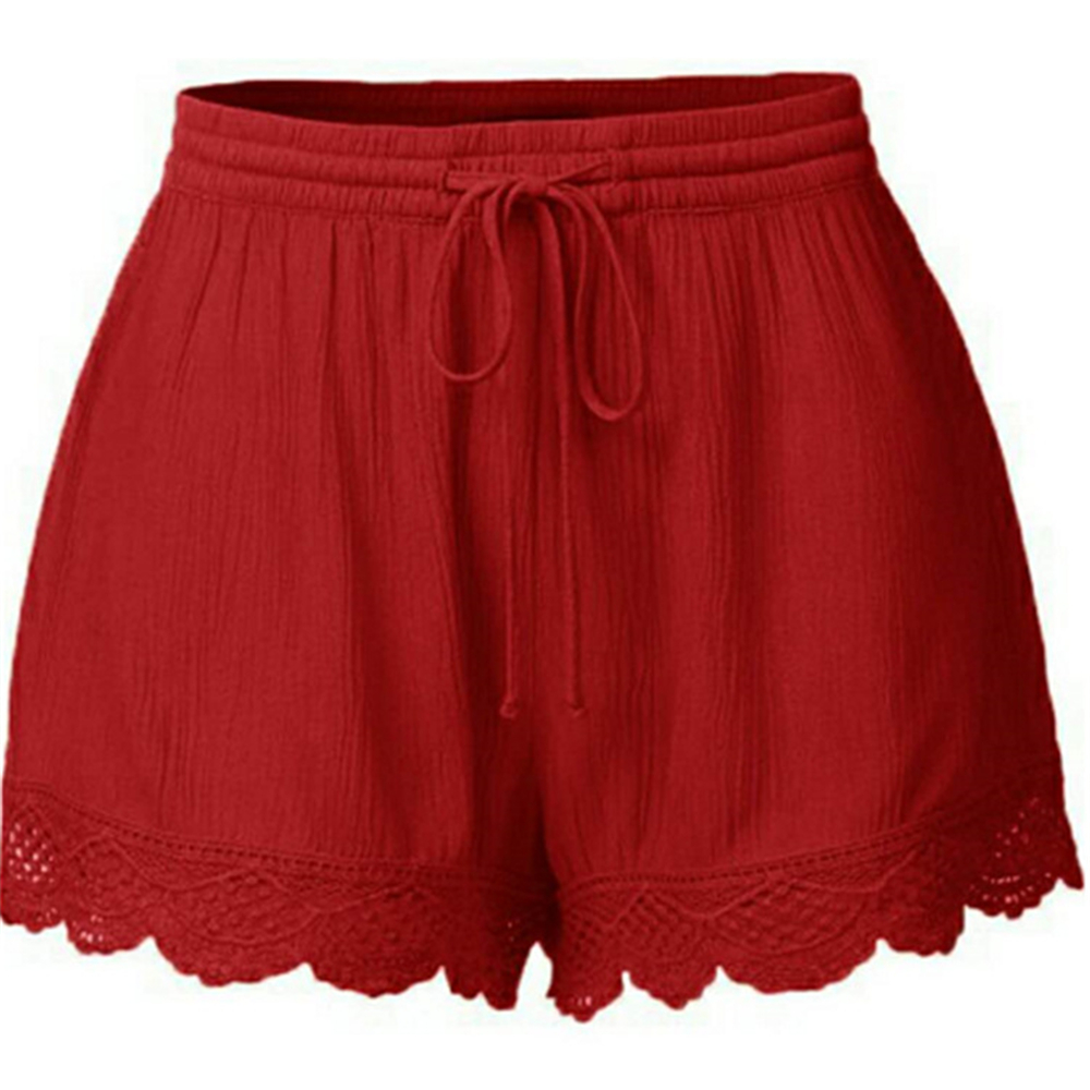 Women/'s Fashion Solid Color Lace Shorts Casual Pants