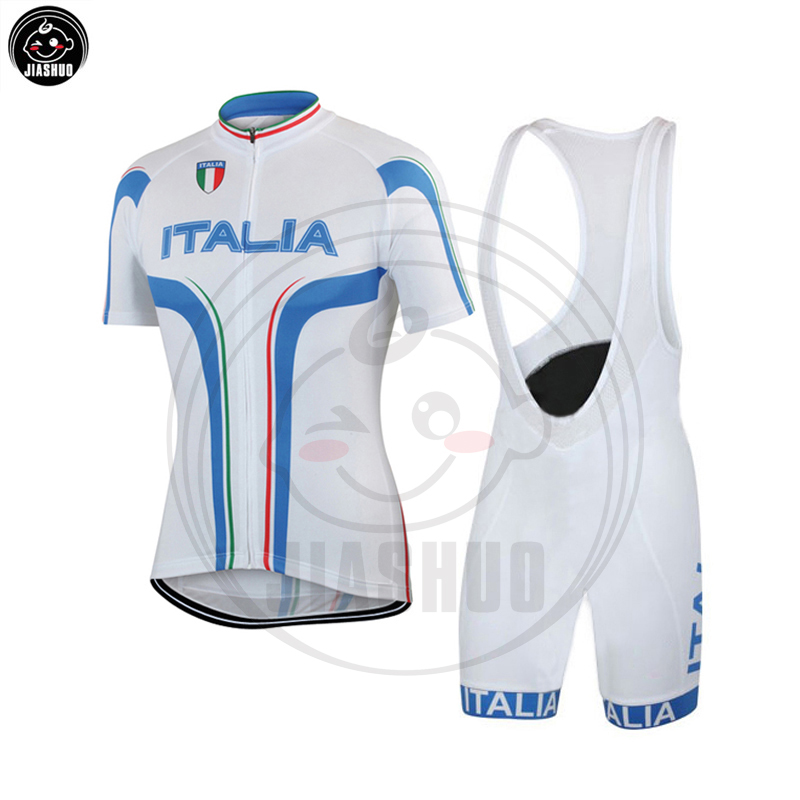 NEW Nation ITALIA Team Classical White Pro Cycling Sets / Jersey / Bib Shorts Breathable Gel Pad JIASHUO, Спорт и отдых