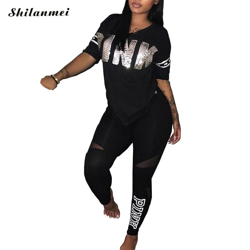 Girls Pink Letter Print Horny Sweatsuit Plus Dimension Tops+Skinny Pants Sweat Fits Two Piece Tracksuit Informal 2 Piece Set S-Xxxl