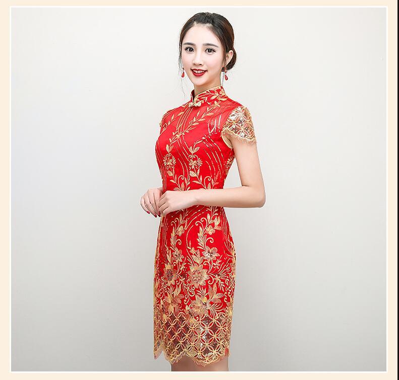 Us 54 34 31 Off Hoge Kwaliteit Rode Chinese Trouwjurk Vrouwelijke Korte Mouw Cheongsam Chinese Traditionele Jurk Vrouwen Borduren Qipao In