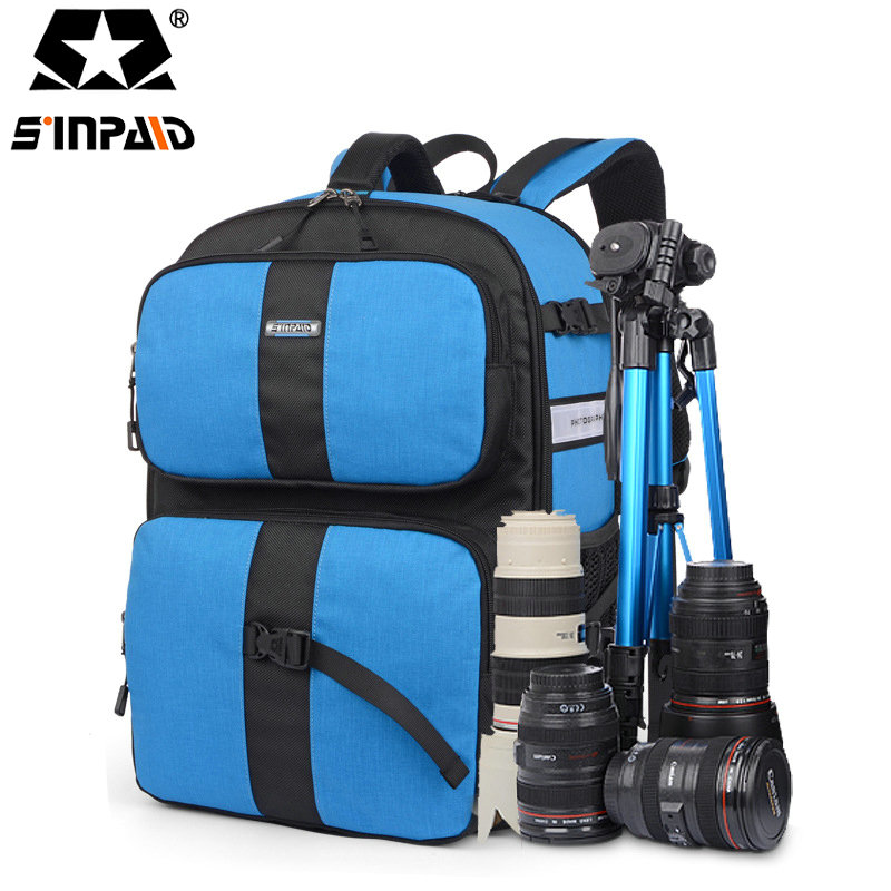 Sinpaid Waterproof Digital DSLR Camera Backpack Nylon Video Bag w/ Rain Cover Big Capacity SLR Camera Bag for Photographer-FF sinpaid anti theft digital dslr photo padded camera backpack with rain cover waterproof laptop 15 6 soft bag video case 50
