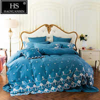 HS 60 S princesa estilo 4 piezas juegos de cama bordado algodón egipcio ropa de cama reina King tamaño azul sábana edredón funda de almohada
