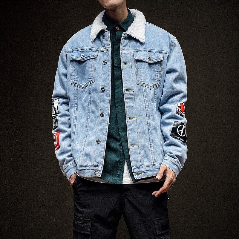 5xl Jean Hombre sky Masculino Tamaño Outwear Polar Denim Chaqueta Invierno blue Más Vaquero Bomber Mens Black Fit Blue p4HqxOBw