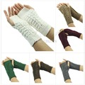 O123- Free Shipping Fashion Women Knitted Fingerless Winter Gloves Unisex Soft Warm Mitten 7 Color