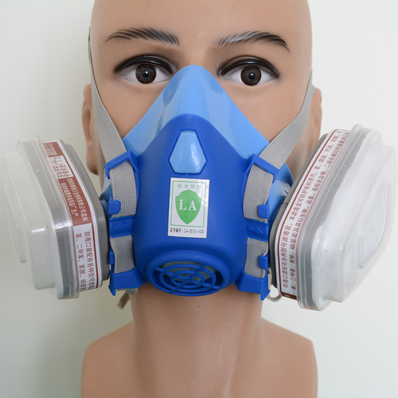 ФОТО 9 piece gas mask respirator carbon filter mask dust / gas dual tank universal respiradores package