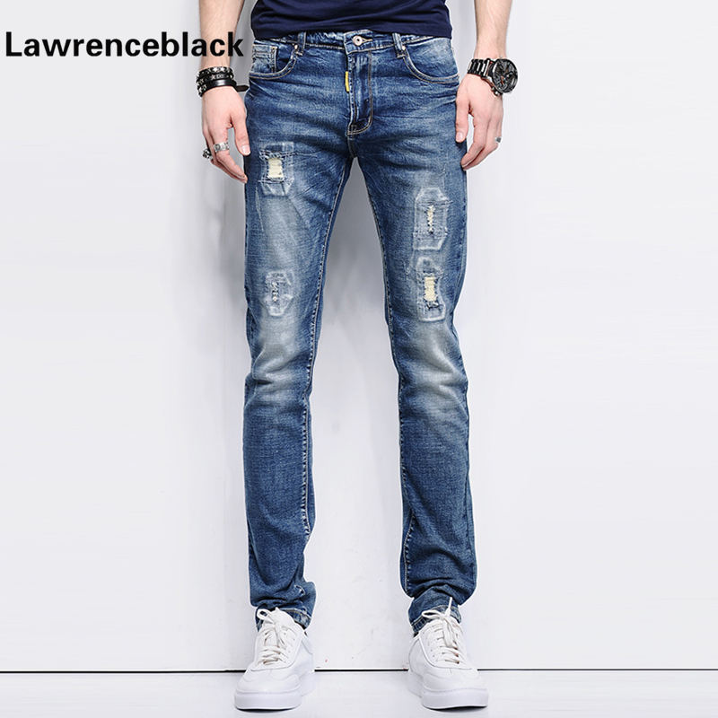 Ripped Skinny Jeans Men Stretch Hole Jeans Cool Jean Slim Homme All-Match Trousers Casual Pants Elastic Male Long Pants Men 226 skinny jeans men stretch hole jeans ripped jean famous brand all match trousers casual pants elastic stretch long pants men 224
