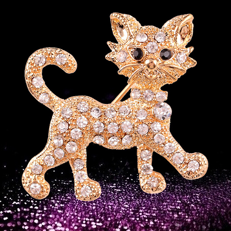 Fashion mini smiley cat brooch pins cravat exquisite gift brooch full crystal cat charms wedding brooches for women