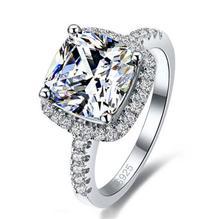 Jexxi Роскошные стерлингового серебра 925 Свадебные Обручальные кольца квадратный AAA кубического циркония Кольца для Свадебные вечерние украшения Быстрая доставка