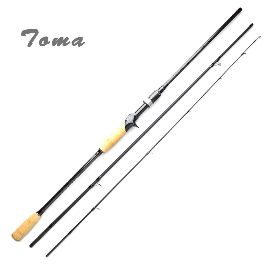 TOMA Carbon Fishing Rod Casting Spinning 2.1m 2.4m 3 Section M Power 6-16g Fast Action Lure Rod Travel Fishing Tackle eurocor high carbon fuji accessories 3 m 3 6 m 2 7 m 3 section straight handle lure rod perch rod boat fishing rod