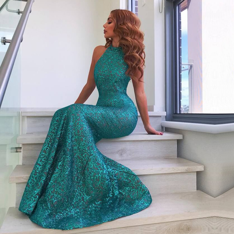 2018 New Arrival Elegant Sleeveless Green Maxi Dress Fashion High Neck Bodycon Sequin Celebrity Evening Party Dresses Vestidos