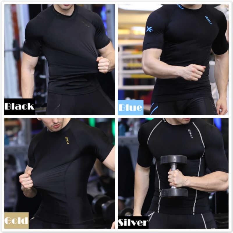 Мужские с коротким рукавом обтягивающая футболка Топы основание кожи Слои футболка с коротким рукавом