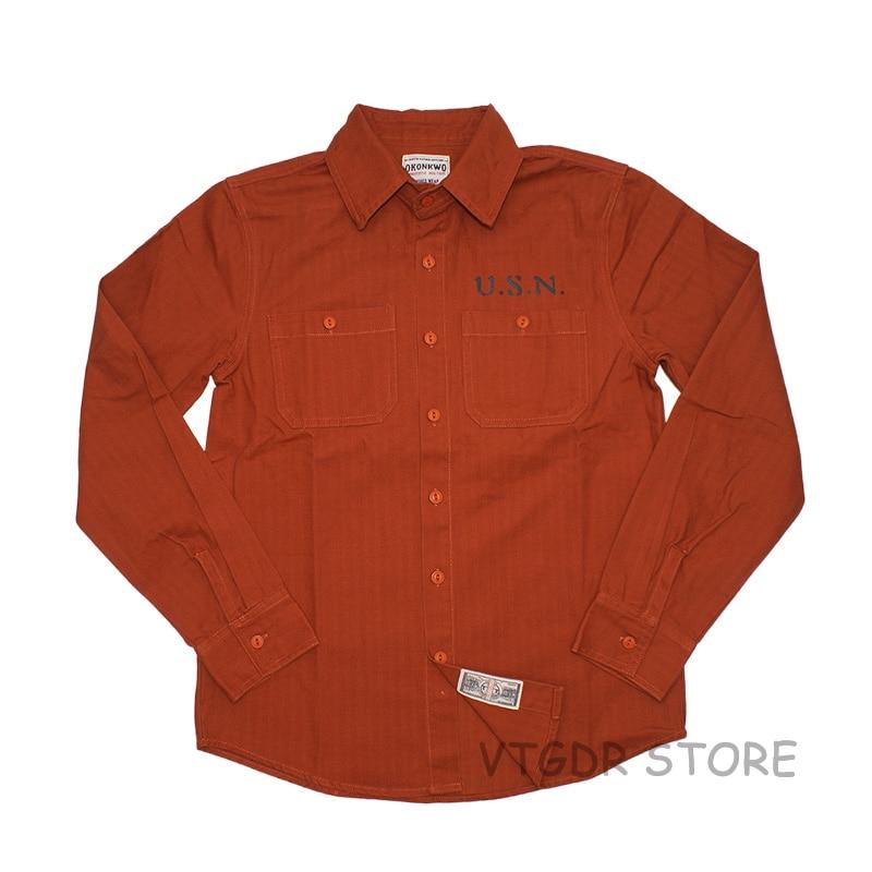 U.S.N البحرية قميص خمر الرجال طويلة الأكمام عارضة عمال العسكرية العمل قميص-في قمصان كاجوال من ملابس الرجال على  مجموعة 1