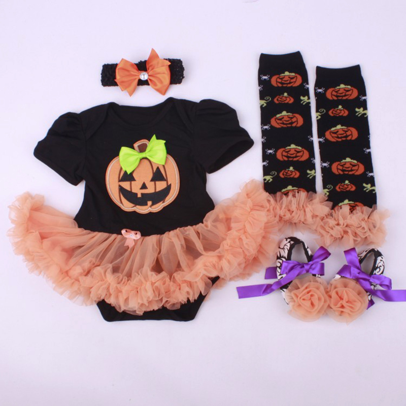 2017 Halloween Baby Girl Infant 4pcs Clothing Sets Romper Dress Jumpersuit+Headband+Shoes+Stockings Hgeteen Pumpkin Bebe Costume baby girl infant 3pcs clothing sets tutu romper dress jumpersuit one or two yrs old bebe party birthday suit costumes vestidos