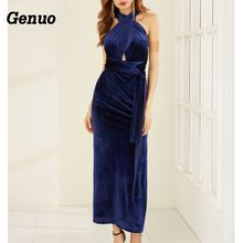 Genuo Sexy Bandage Off Shoulder Vlevet Long Dress Female Split Elegant Party Vestdios  verano 2018 Winter Night Club Wwear