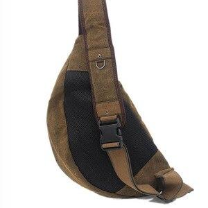 Image 3 - Men Canvas Sling Chest Day Back Pack Bag Travel Big Capacity Retro Cross Body Single Rucksack Shoulder Messenger Triangle Bag