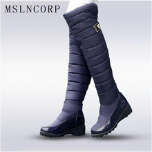 цена на Plus Size 34-44 winter women warm knee high boot ladies fashion platform Low Square Heel thigh snow boots shoes waterproof botas