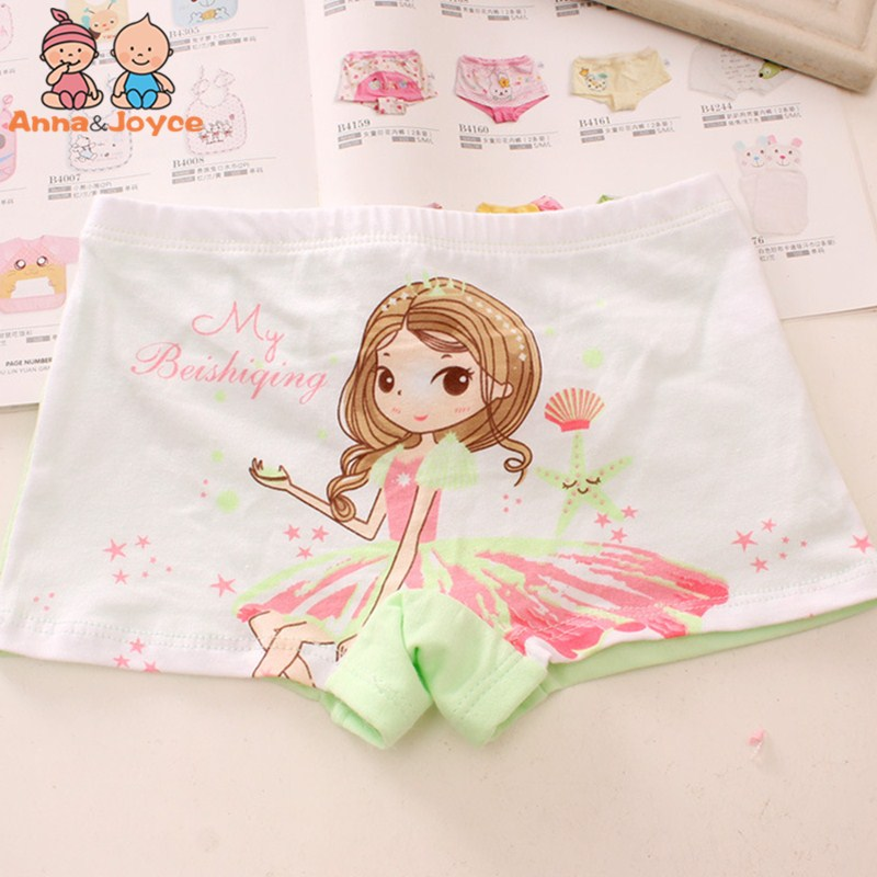Gilrs Cute Cartoon Princess Boxer Underwears Soft Pure Cotton Kids Pant For 2 To 8 Years Old HTNN430