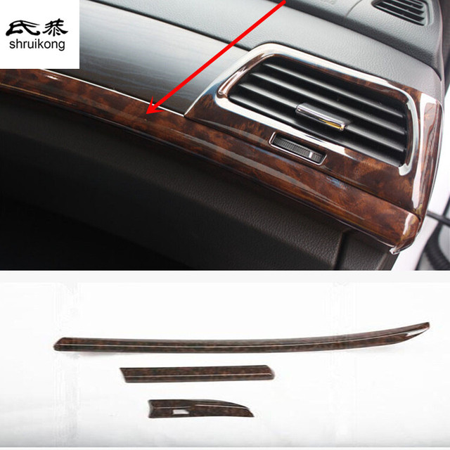 Free Shipping 3pcs Lot Wooden Lines Front Center Console Beam Car Accessories For 2008