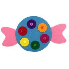 7 Styles Felt Button Craft For Kids Early Learning Handmade Buckle Button Kindergarten Teaching Toys DIY Felt Cloth Crafts