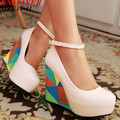 Airfour  new  arrive fashion sexy wedges high heels women pumps PU  wedding shoes woman 11cm Grid Bohemian Platform pumps