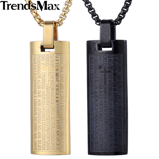 Trendsmax stainless steel bible scriptures rectangular pendant trendsmax stainless steel bible scriptures rectangular pendant necklace fashion mens boys jewelry kp480 kp482 aloadofball Image collections