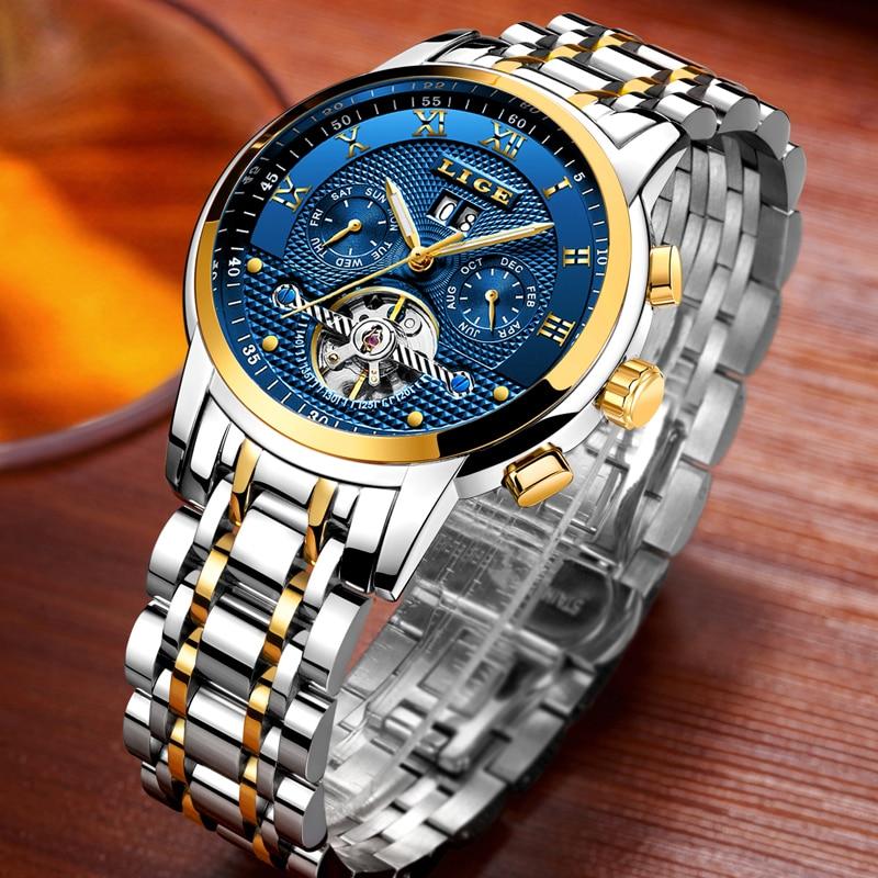 Saatler'ten Mekanik Saatler'de LIGE 2019 Yeni Erkekler İzle Üst Marka Lüks İş Otomatik Makine erkek Saatler Tam Çelik Su Geçirmez Adam Saat Saatler kutusu'da  Grup 1