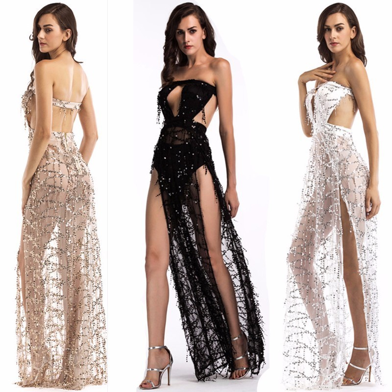 MUXU vestidos sexy transparent backless sequin dress glitter summer woman clothes mesh strapless white party club long dresses